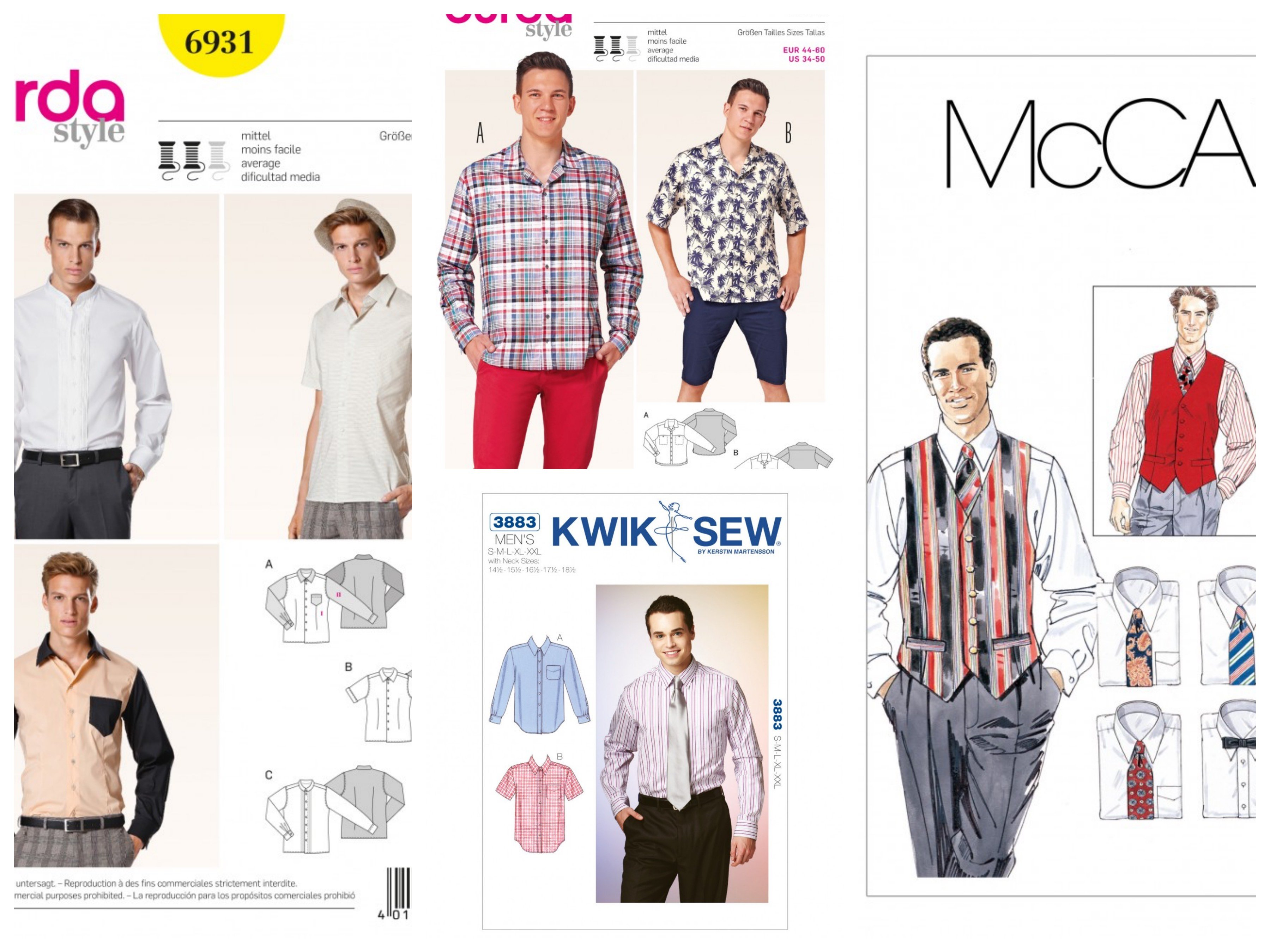 Men/'s Long Sleeve Shirts Sewing Pattern~3 Styles! Sizes 34-50 Burda 7045